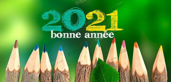 """Carte vœux 2021 - belle carte vœux écologie année 2020 """"wood colors pencils"""""""